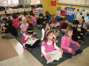 School children practicing mindful awareness